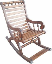 Handicrafted Pure Sheesham Wooden Rocking Chair (Brown)