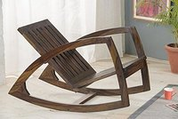 Solid Sheesham Wood Stylish Rocking Chair/Adult Chair/Relax Chair for Living Room/Garden & Outdoor - Walnut Finishing