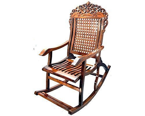 Amazing Hand Carved Wooden Rocking Chair