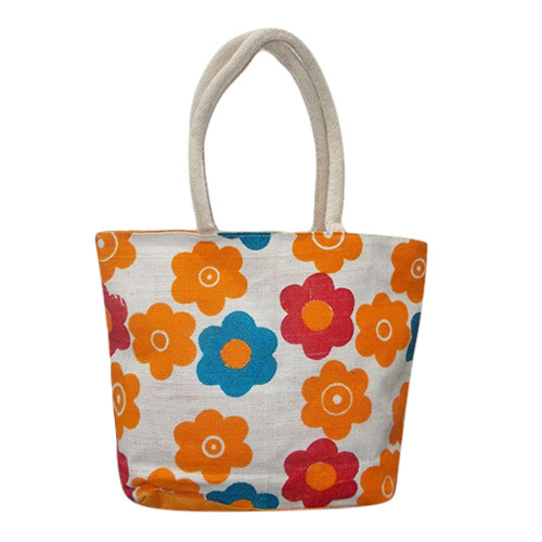 Flower Print Jute Bag