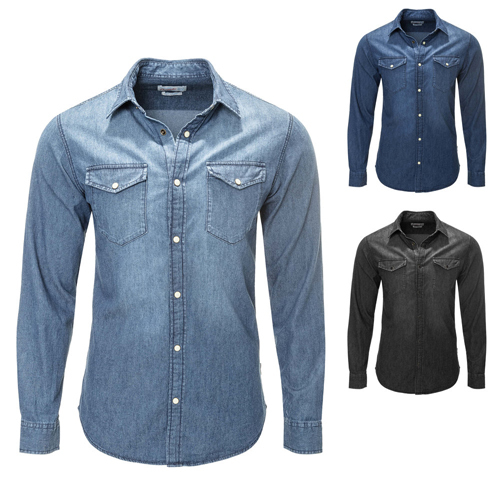 Mens Casual Long Sleeves Denim Shirt