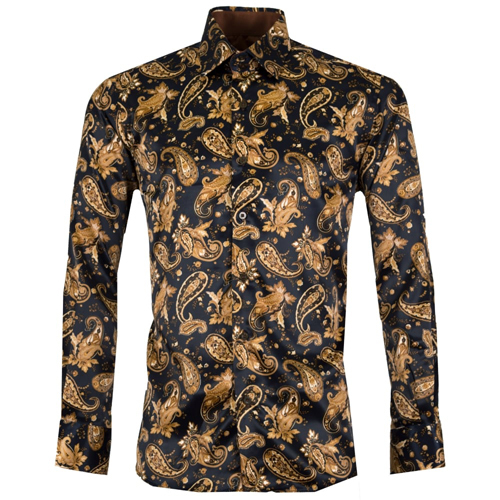 Gold printed Satin Men Shirt