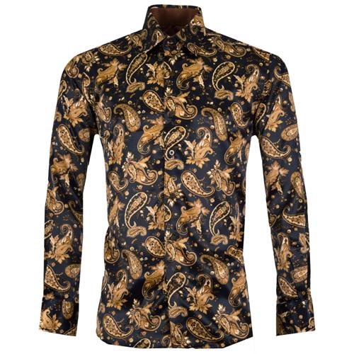 Gold printed Satin Men Shirt
