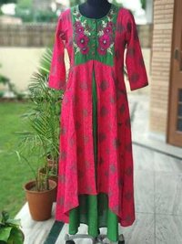 Embroidered double layered dress