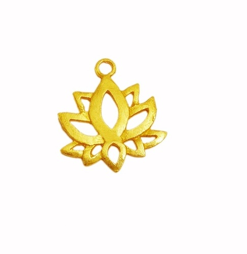 Beautiful Gold Plated Lotus Flower Metal Charm Pendant