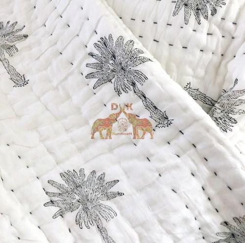 Kantha Quilt Cotton Grey Palm Tree