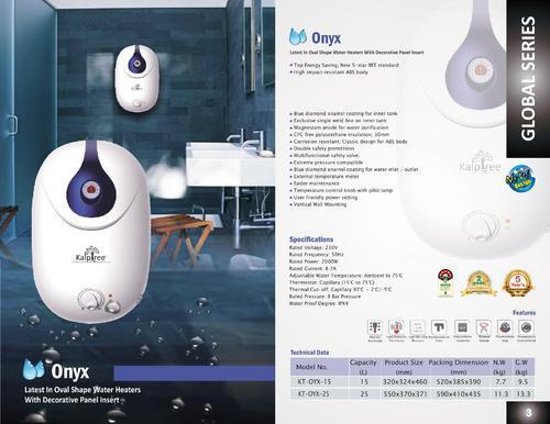Kalptree - Onyx 15 Litres - Electric Water Heater / Geyser (With Glassline Tank & Incoloy Element)