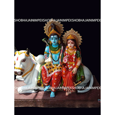 Shiva Parvati Sitting Statue