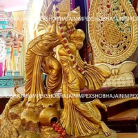 Gold Radha Krishna Statue