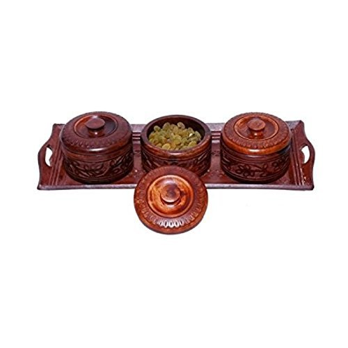 Wooden Handmade 3 Dry Fruit Box & 1 Serving Tray Set Of 4