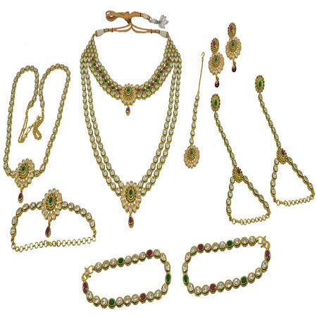 Hi Gold White Ruby Onyx Enamel (Meena) With Reverse AD Bridal Set
