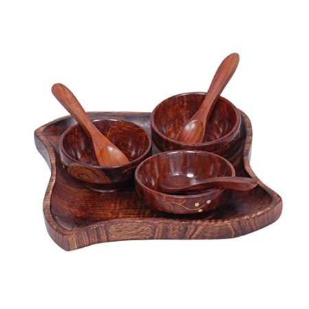 Wooden kitchen ware Dry Fruits Tray & Snacks With 3 Bowl & 3 Spoon.