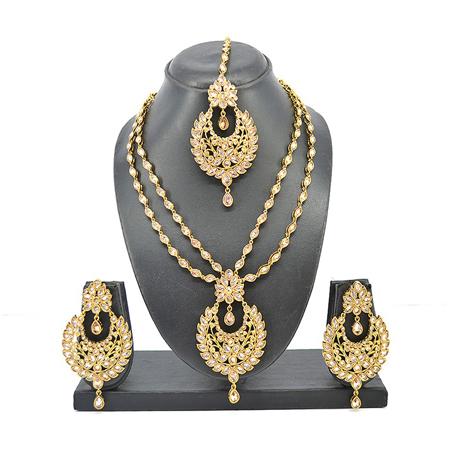 American Diamond Antique Gold Reverse Neclace Set  & L.C.T