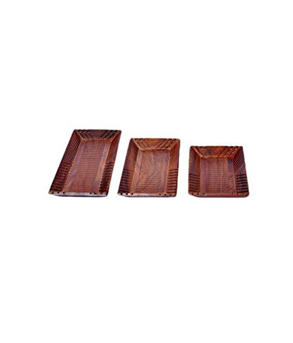 A Wooden Tray - Set Of 3