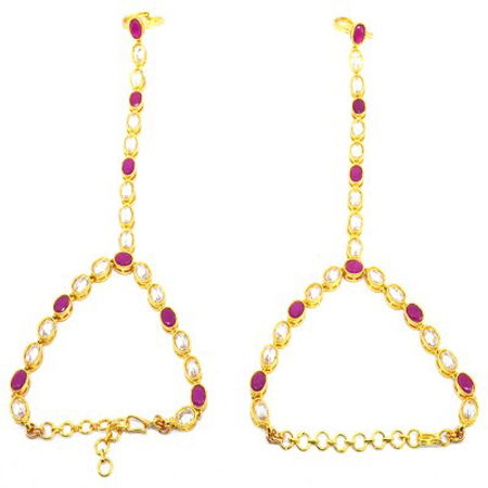 Hi Gold White Ruby with Reverse AD Haath Paan
