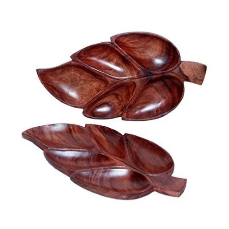 Wooden Handmade Leaf Design Dry Fruit Tray Size-lxbxh13x7x1 inch Set Of 2