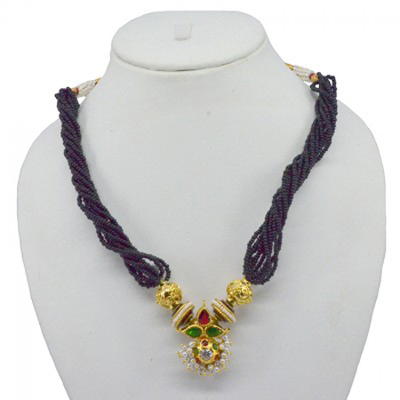 Hi Gold Red Green Enamel (Meena) Pearl Jewellery With Reverse AD Thauja