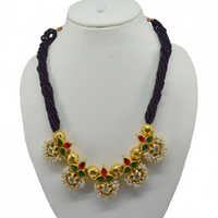 Hi Gold Red Green Pearl Jewellery With Reverse AD Thauja