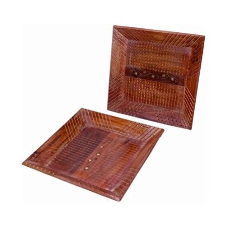Wooden Fancy Design Serving Tray Size-lxbxh-14x9x1 Inch Set Of 2