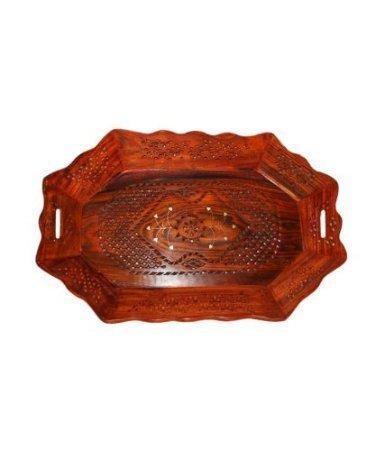 Tray Serving Fruit Home kitchen Wooden Fancy Decor Wood Gift Basket Trey