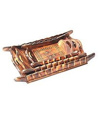 Handicrafts Brown Wooden Decorative Tray Set - 3 Pcs