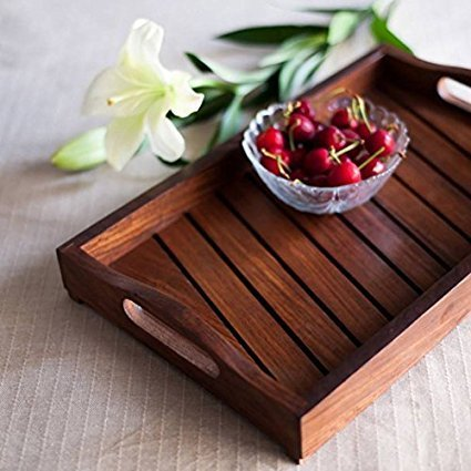 Fancy Design Kitchen Ware Sheesam Wood In Engraved Wood Tray Size(LxBxH-13.9x9.0x2.2) Inch