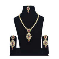American Diamond Beaded Gold Necklace Set