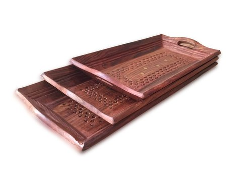Wooden Coffee Tray Set Of 3 ( Handcarved Coffee, Tea And Snacks Serving Trays ) - (18X10X4 Inches)