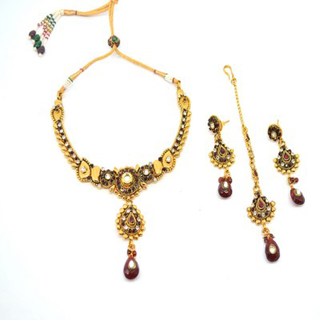 Austrian Diamond Gold Necklace Kundan Necklace Set