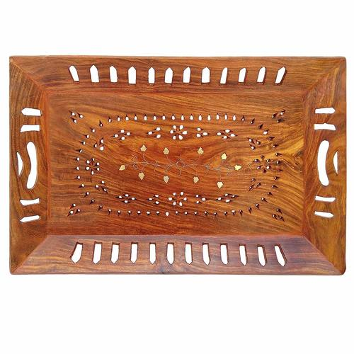 Handmade Wooden Serving Tray Design with Brass Work, 15X9.5 Inches