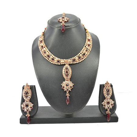 White Ruby Austrian Diamond Rose Gold Necklace Set
