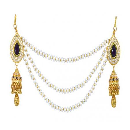 Hi Gold LCT Sapphaire Blue American Diamond Pearl Reverse AD Veni