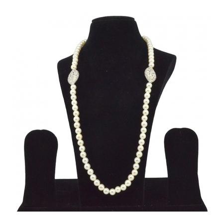 American Diamond Silver Pearl Reverse AD Mala