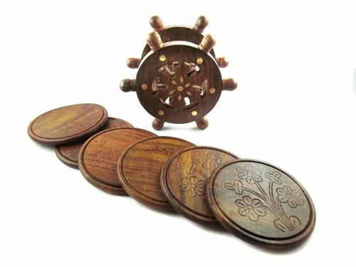 Fancy Vintage Ship Steering Wheel Shaped Wood Tea Coaster Set, Brown