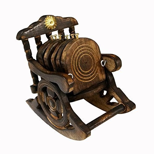 Wooden Antique Beautiful Miniature Rocking Chair Design Tea Coffee Coaster Set