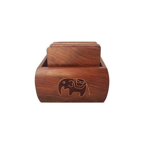 Handmade Black Elephant Wooden Tea Coaster