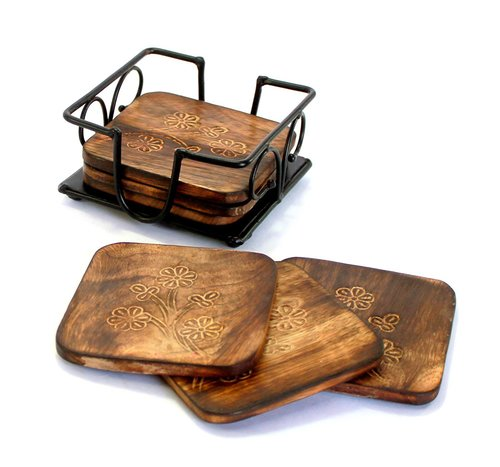 Fancy Mango Wooden Tea Coffee Coasters/Coaster Set/Coasters Set with Wrought Iron Holder