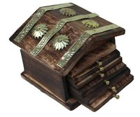 Rajasthani Wooden Antique Beautiful Miniature Hut Design Tea Coffee Coaster Set