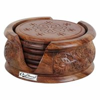 Wooden Round Carved Coaster Set for Kitchen/Dining Table,Set of 6