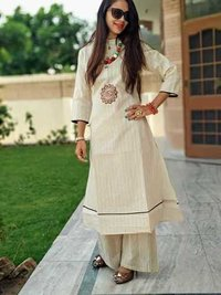 Embroidered khadi kurti