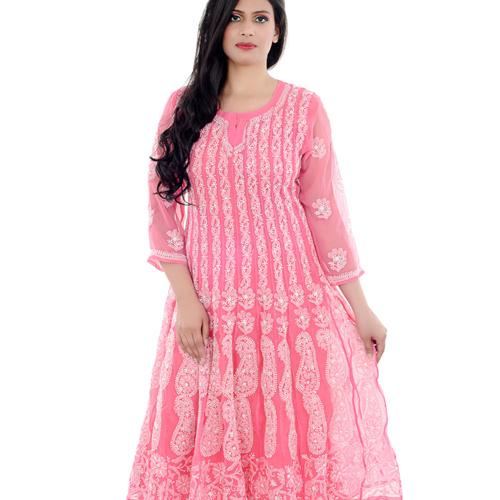 Lucknow Chikan Anaarkali Gown
