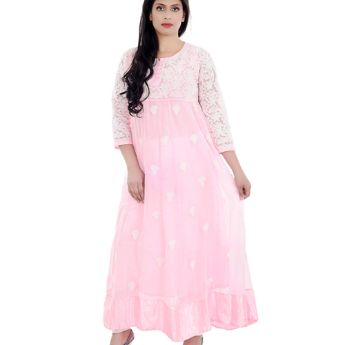 Lucknow Georgette Chikan Anarkali Suit