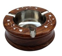 Handmade Wooden Round Ashtray for Home Office Car Gifts