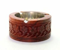 Table Top Decorative Wooden Ash Tray With carving work for Cigarette
