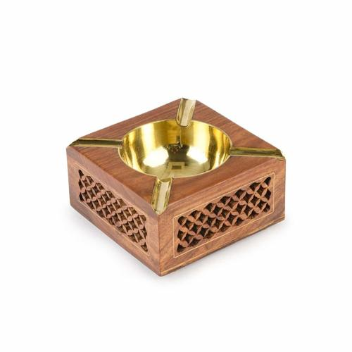 Wooden Ash Tray - 4 in x 4 in - Square Meshwork Ashtray with Circular Brass Bowl & Carving W-40124-A