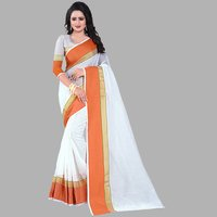 Plain White Saree