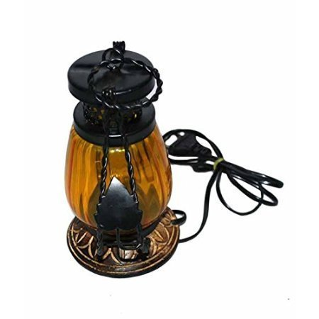 Wooden & Iron hand carved Colored Electric Chimney Lantern design YELLOW