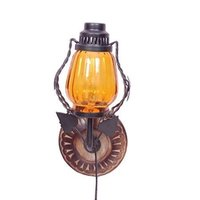 Wooden & Iron Fancy Wall Hanging Electric Chimney Lamp Sise(Lxbxh-6X5X11) Inch, Color Yellow Home Décor