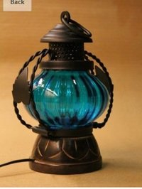 Blue Electric Lamp Holder Decorative Table Lamp Hanging Lantern Stand Tea Light