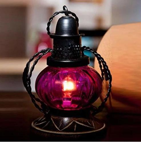 Pink Electric Lamp Holder Decorative Table Lamp Hanging Lantern Stand Tea Light